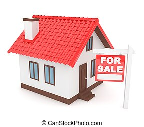 House real estate for sale. 3D rendering.