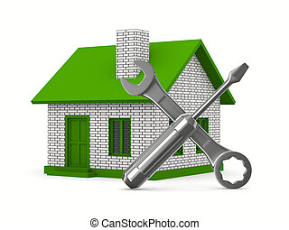 House repairing on white background. Isolated 3D image