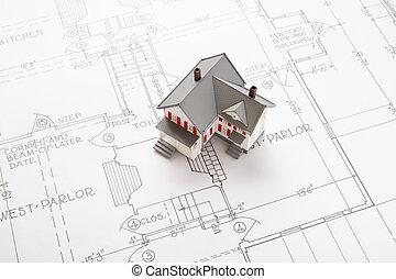 houses on blueprint