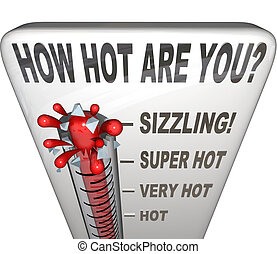 How Hot Are You Words Thermometer Attractive Sexy