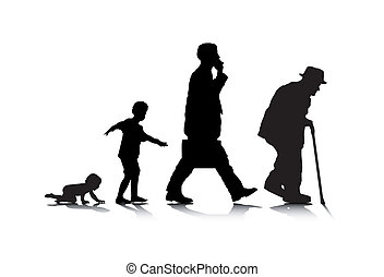 An abstract vector illustration of human aging.