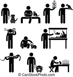 A set of pictogram representing human with their pets - dog, cat, bird, parrot, monkey, rabbit, fish, snake, pig, and hamster.