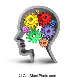 Human brain activity intelligence isolated on a white background
