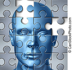 Human brain research and memory loss and alzheimer's medical symbol represented by a frontal human head with a missing piece of the puzzle texture.