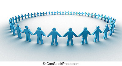 3d people in a big circle