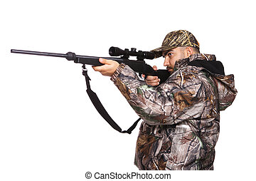 Hunter aiming a rifle while wearing camouflage clothing, isolated on white