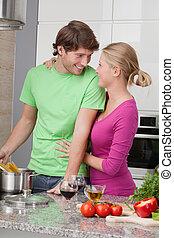 Husband cooking dinner