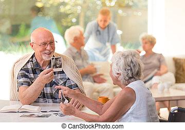 Husband showing photos