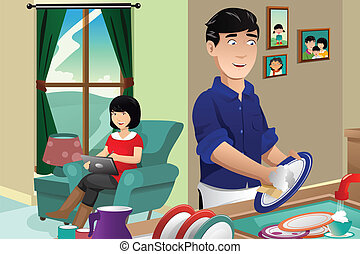 A vector illustration of husband washing dishes while wife using tablet PC