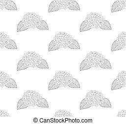 Hydrangea Flower Seamless on White Background