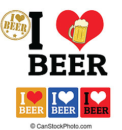 I love Beer sign and labels
