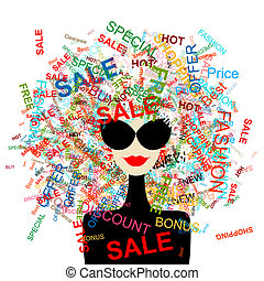 I love sale! Fashion woman with shopping concept for your design
