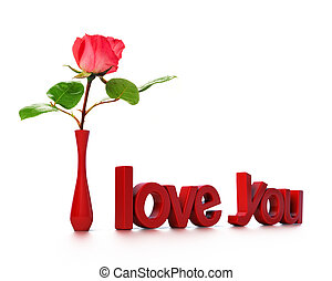 I love you message with a pink rose, Love card