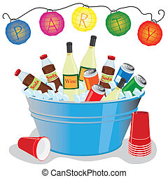 Beer, wine and soda in an ice filled tub with party lanterns