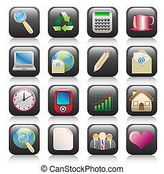 Icon set-Icon-Icons-Button-Buttons-Symbol-Symbols-Computer icon-Web icon-Internet icon-Computer-Illustration-Color