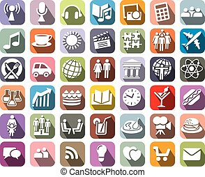 Collection of colorful icons over white background