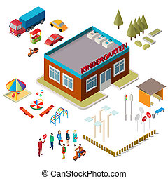 Icons of the kindergarten building, playground equipment, cars and people