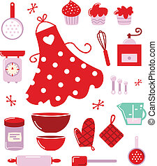 Icons or accessories for housewife isolated on white