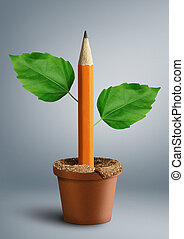 idea creative concept, pencil with leaves grow from pot
