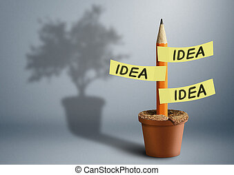 Idea creative concept, pencil with stickers and tree shadow