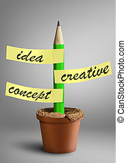 Idea creative concept, pencil with stickers as plant in pot