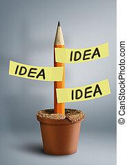 Idea creative concept, pencil with stickers in pot