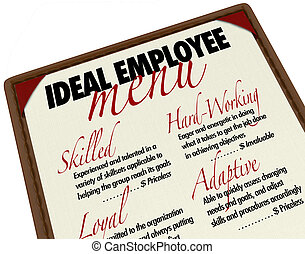 Ideal Employee Menu for Choosing Job Candidate
