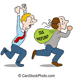 An image of a thief stealing a tax refund.
