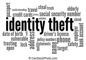 "The words ""Identity Theft"" is surrounded by related words in this word cloud on white background"