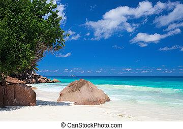Idyllic beach on La Digue island in Seychelles