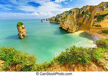 Idyllic beach landscape at Lagos, Algarve, (Portugal)
