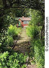 Idyllic Swedish summer house in an allotment.