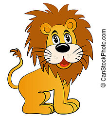 illustration amusing young lion on white background