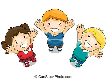 Illustration Featuring Kids Raising Their Hands Upwards