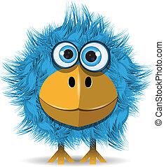 illustration, funny blue bird with big eyes