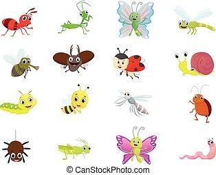 illustration insect cartoon set