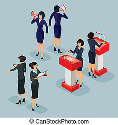 illustration isometric people businessman doing a report