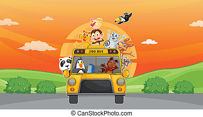 animals and zoo bus