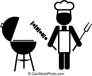 illustration of a chef making bbq and holding shashlik