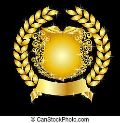 golden heraldic shield with laurel wreath
