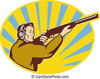 illustration of a Hunter aiming rifle shotgun side view