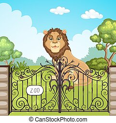Illustration of a lion at Zoo