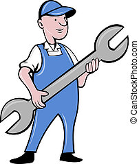 mechanic with spanner wrench