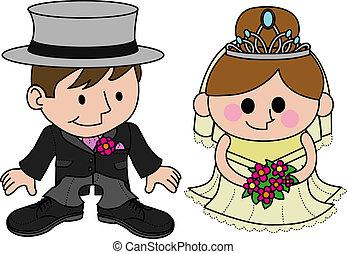 Illustration of bride and groom in wedding garments