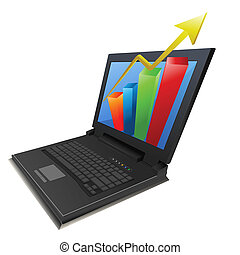 business growth graph in laptop