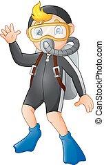 Cartoon diver boy waving hand