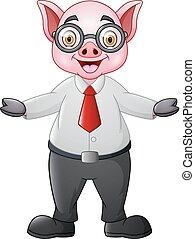 Cartoon pig businessman waving hand