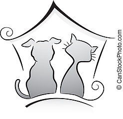 Illustration of Cat and Dog Shelter Silhouette in Black and White