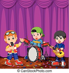 Children in band playing on stage