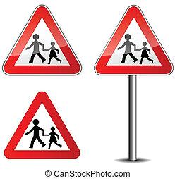 Illustration of childrens roadsign on white background